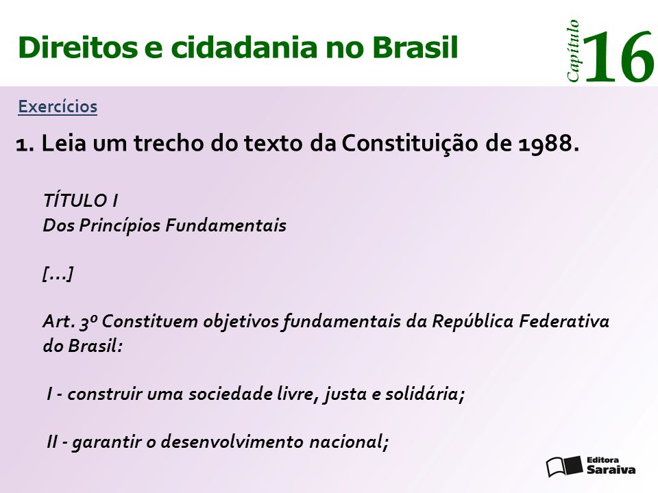 14 16 Direitos e cidadania Direitos e cidadania no Brasil 1.