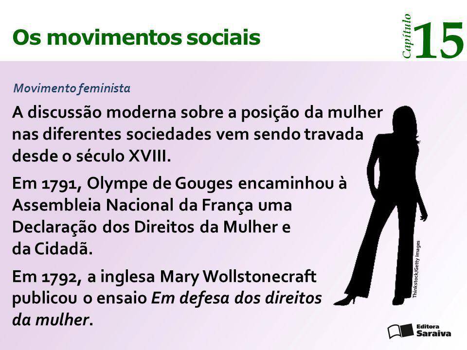 15 Os movimentos sociais. Capítulo. Movimento feminista.