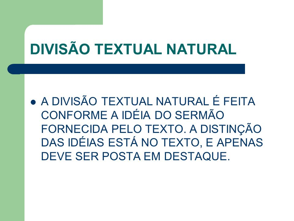 DIVISÃO TEXTUAL NATURAL