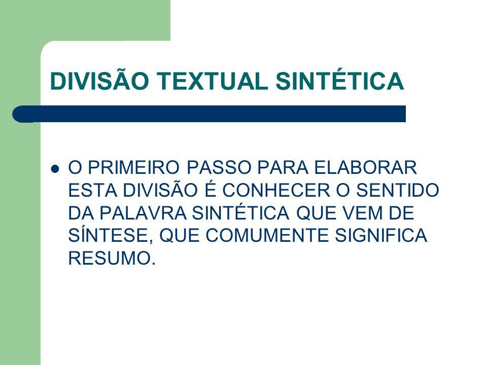 DIVISÃO TEXTUAL SINTÉTICA