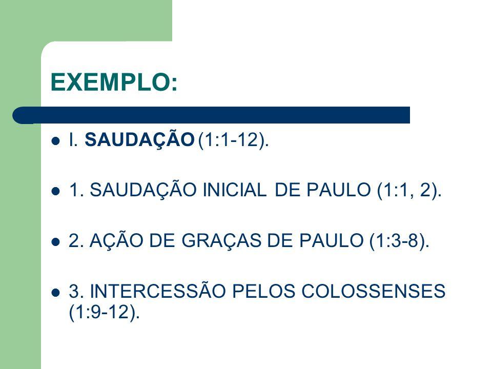 EXEMPLO: I. SAUDAÇÃO (1:1-12). 1. SAUDAÇÃO INICIAL DE PAULO (1:1, 2).