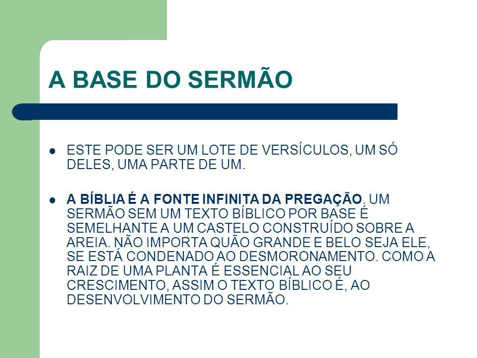 A BASE DO SERMÃO ESTE PODE SER UM LOTE DE VERSÍCULOS, UM SÓ DELES, UMA PARTE DE UM.