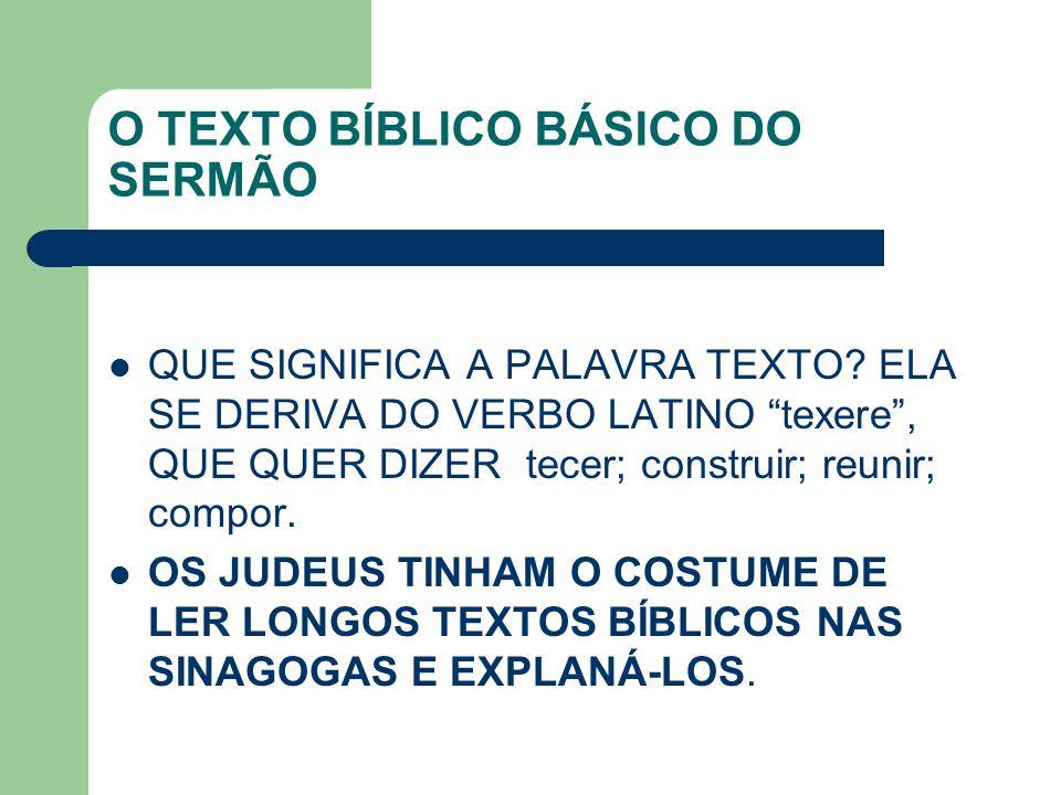 O TEXTO BÍBLICO BÁSICO DO SERMÃO