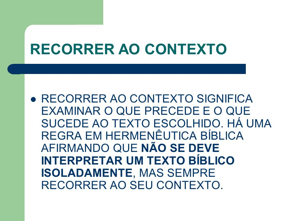 RECORRER AO CONTEXTO