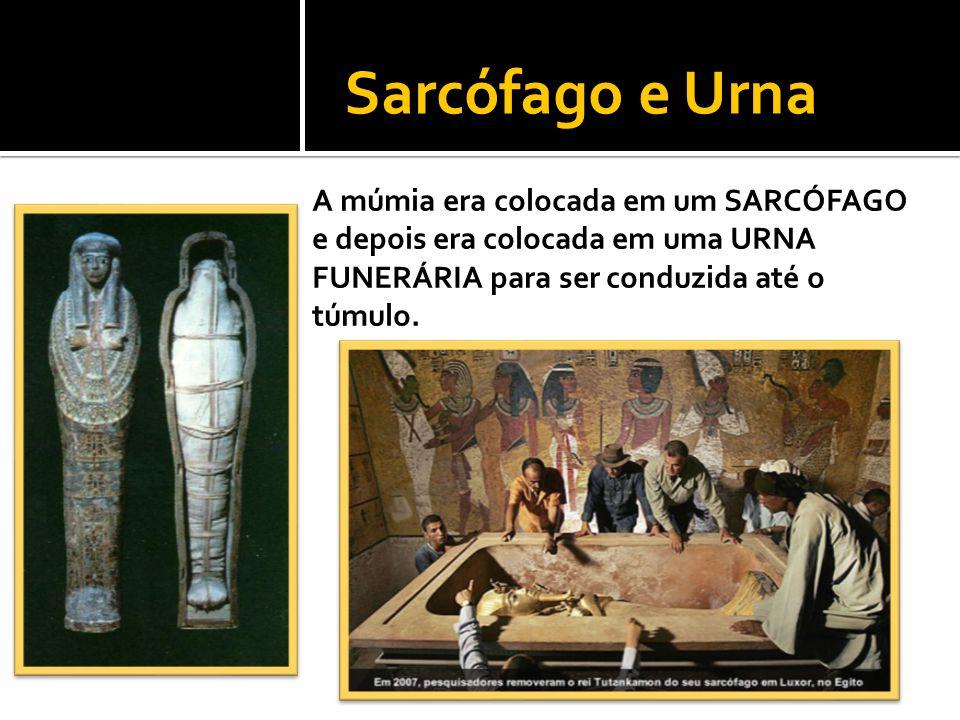 Sarcófago e Urna A múmia era colocada em um SARCÓFAGO e depois era colocada em uma URNA FUNERÁRIA para ser conduzida até o túmulo.