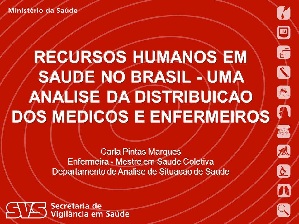 RECURSOS HUMANOS EM SAUDE NO BRASIL - UMA ANALISE DA DISTRIBUICAO DOS MEDICOS E ENFERMEIROS