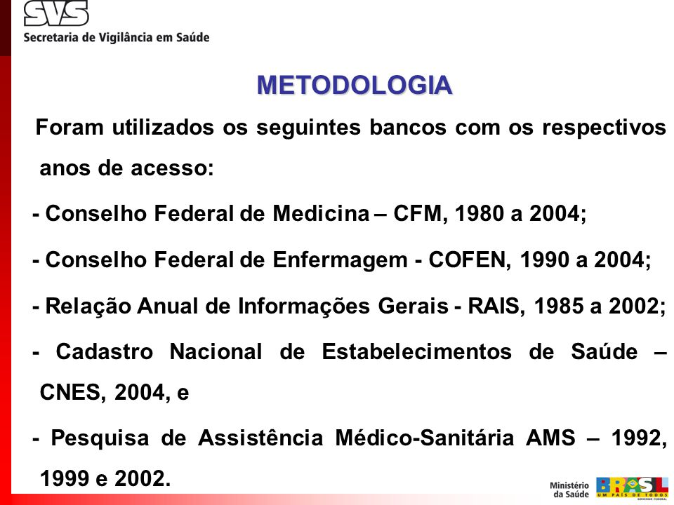 METODOLOGIA - Conselho Federal de Medicina – CFM, 1980 a 2004;