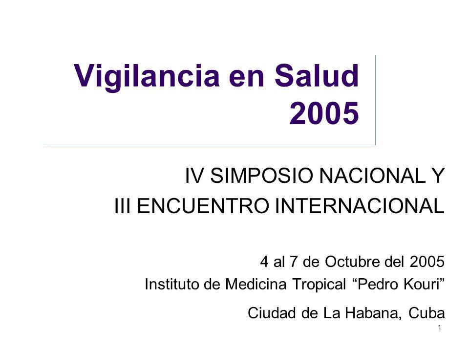 Vigilancia en Salud 2005 IV SIMPOSIO NACIONAL Y