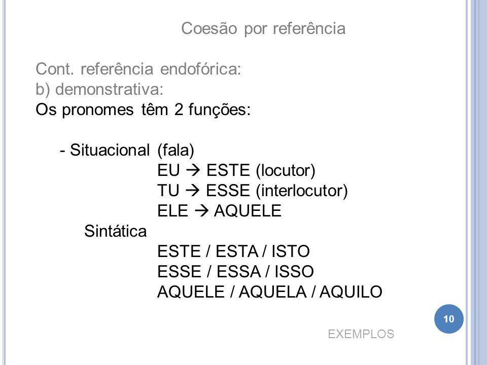 Coesão por referência Cont. referência endofórica: b) demonstrativa: Os pronomes têm 2 funções: Situacional (fala)