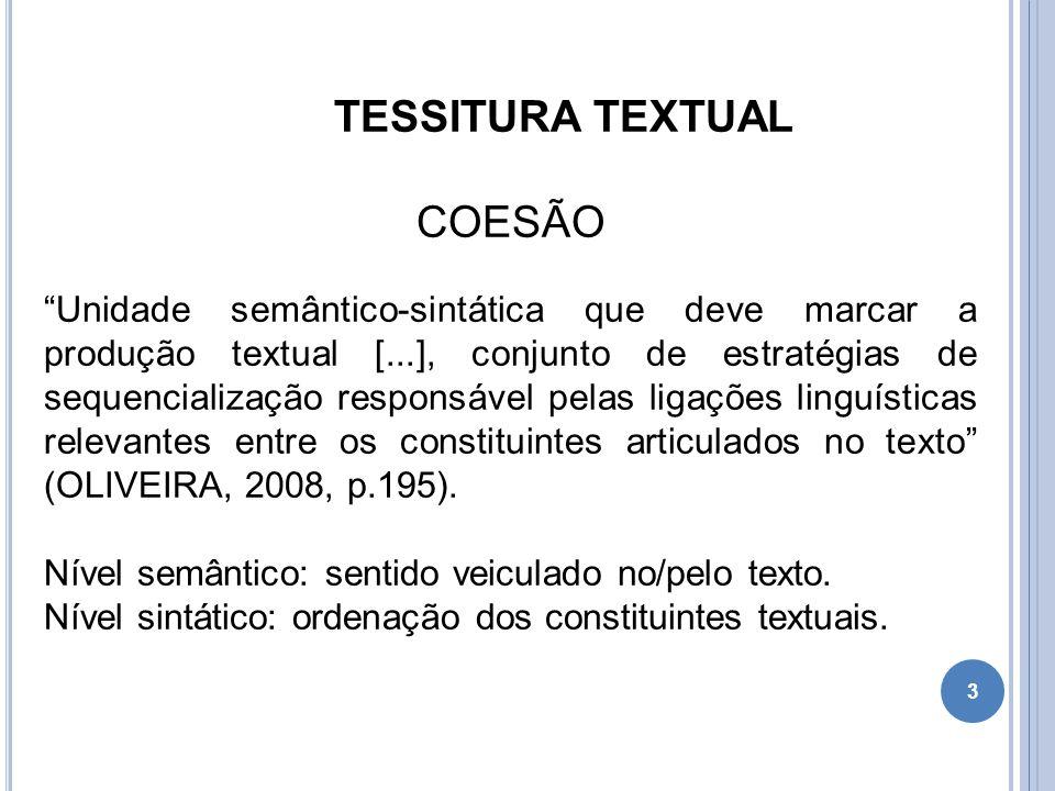 TESSITURA TEXTUAL COESÃO