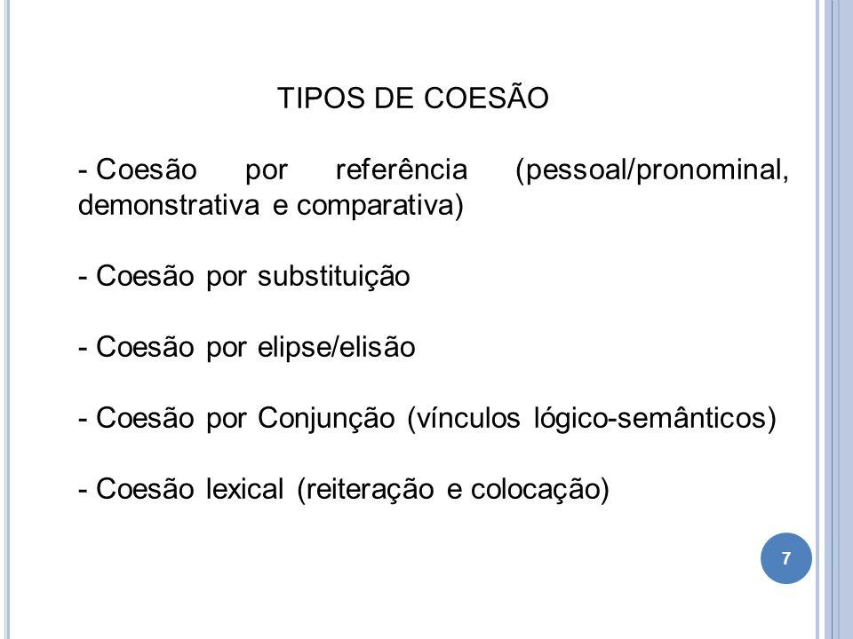 TIPOS DE COESÃO Coesão por referência (pessoal/pronominal, demonstrativa e comparativa) Coesão por substituição.