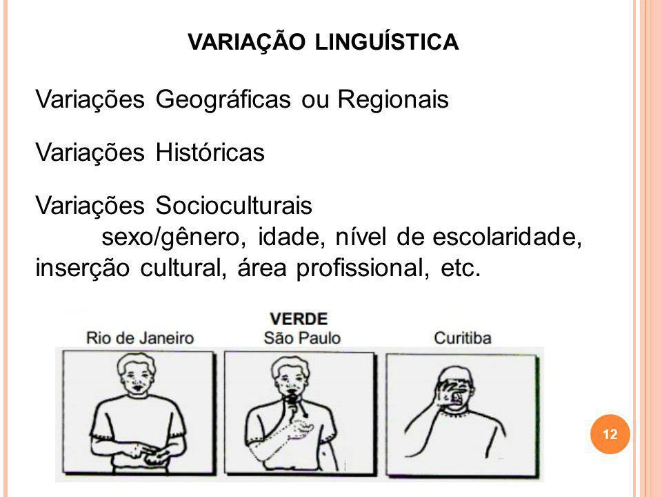 Variações Geográficas ou Regionais Variações Históricas