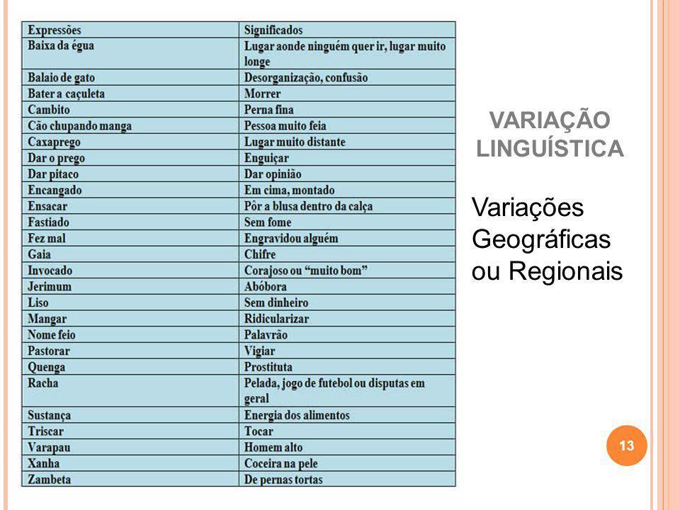 Variações Geográficas ou Regionais