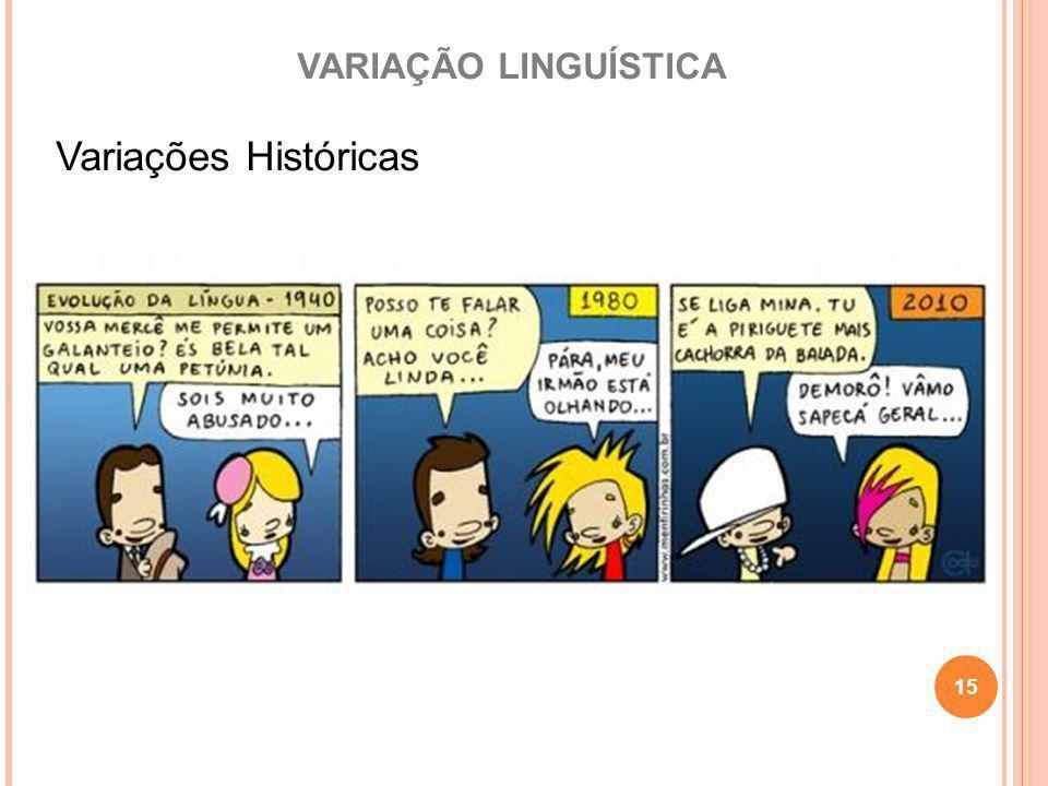 VARIAÇÃO LINGUÍSTICA Variações Históricas 15