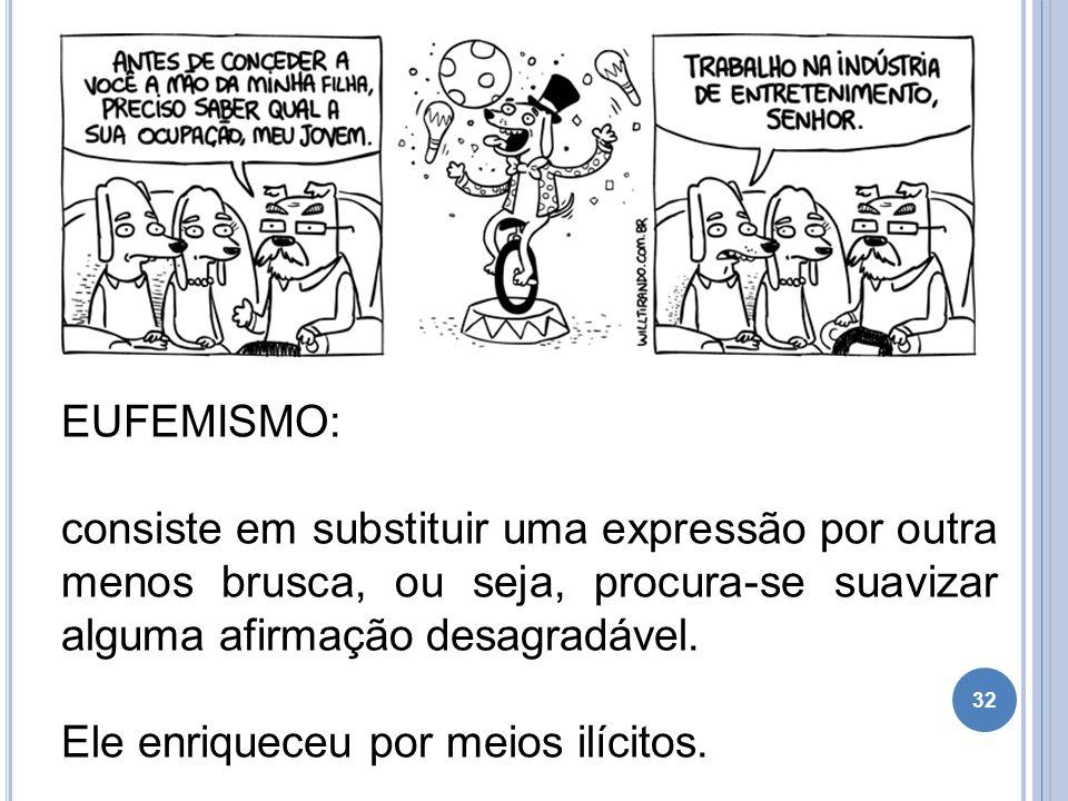 EUFEMISMO: consiste em substituir uma expressão por outra menos brusca, ou seja, procura-se suavizar alguma afirmação desagradável.