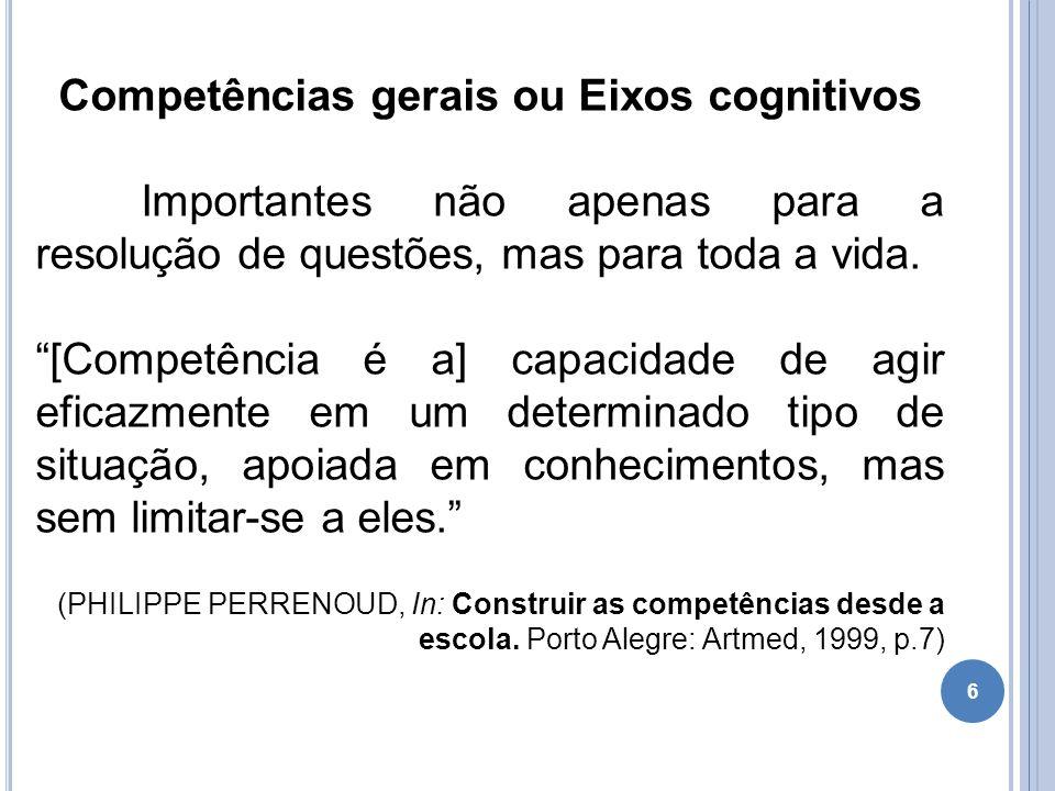 Competências gerais ou Eixos cognitivos