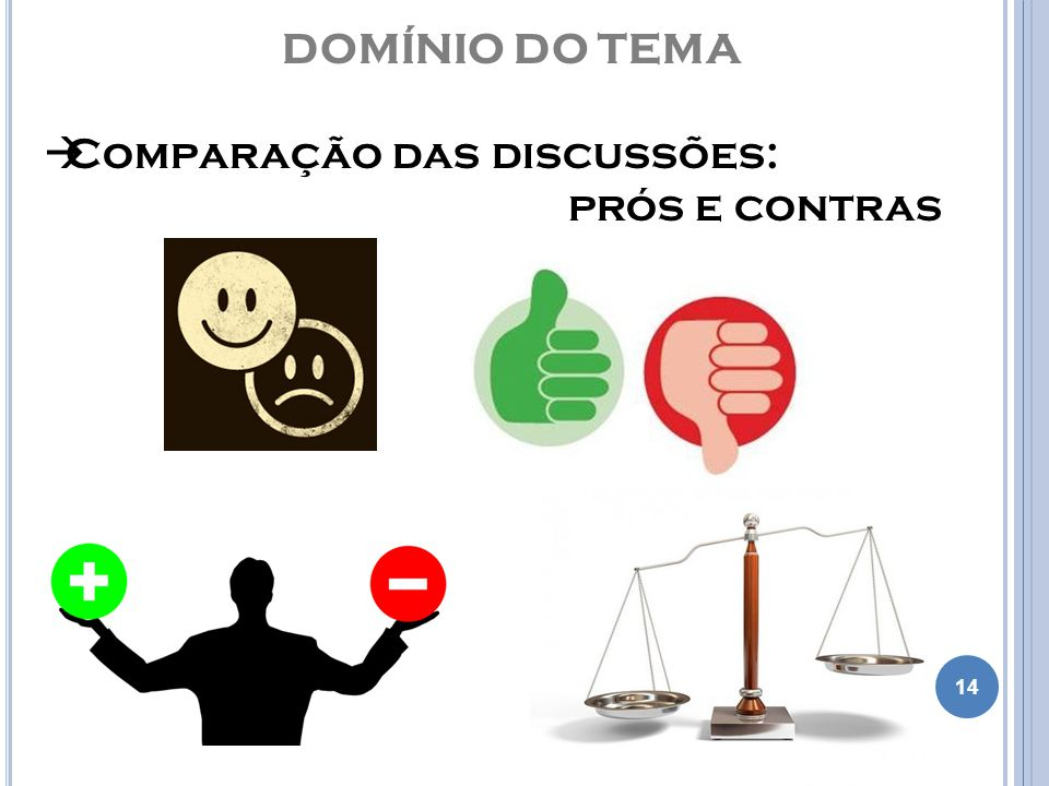 DOMÍNIO DO TEMA Comparação das discussões: prós e contras