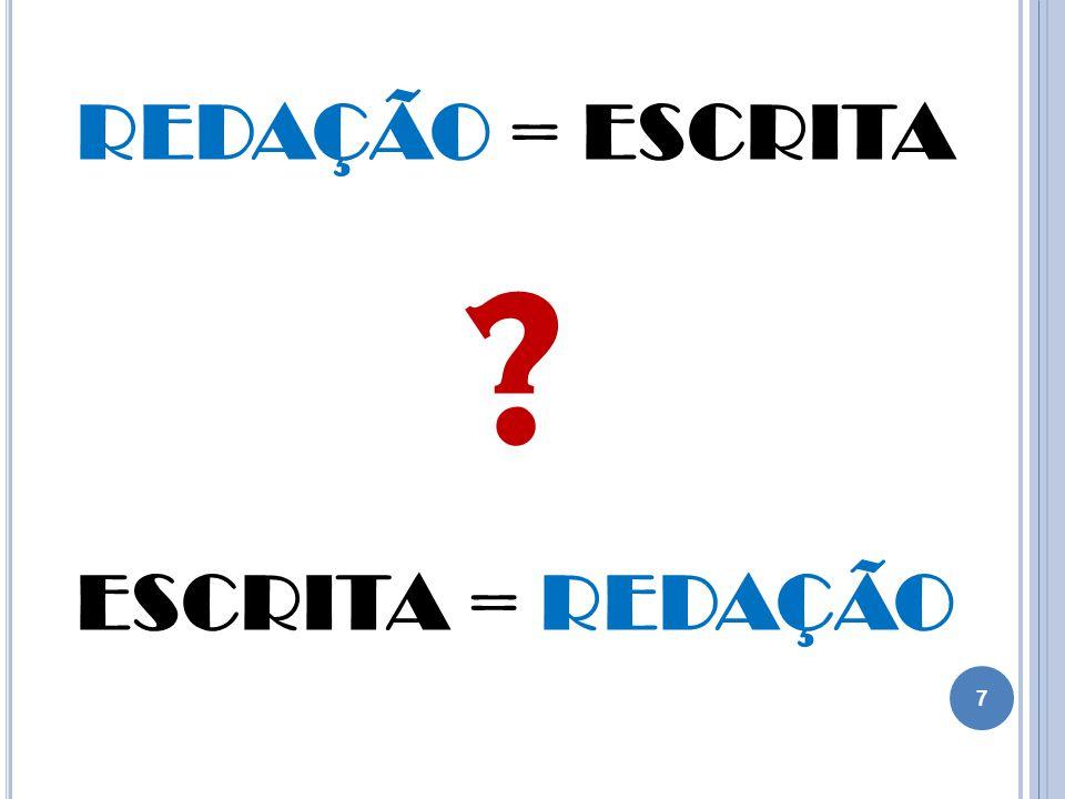 REDAÇÃO = ESCRITA ESCRITA = REDAÇÃO