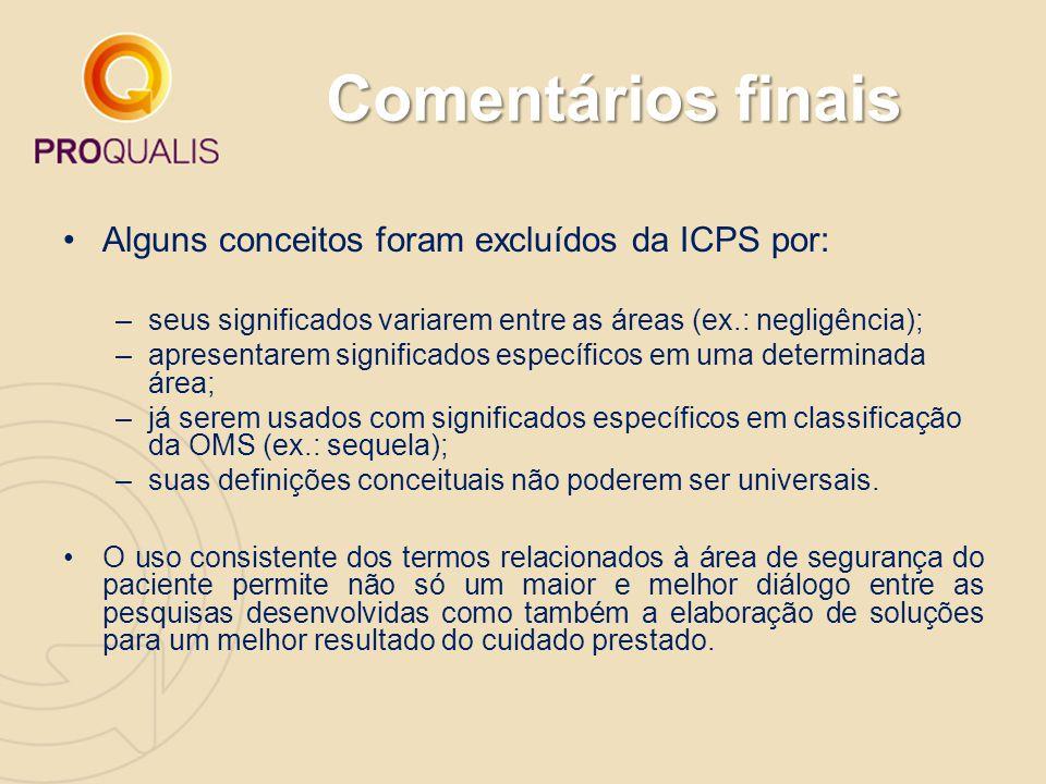 Comentários finais Alguns conceitos foram excluídos da ICPS por: