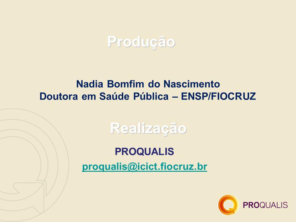 Nadia Bomfim do Nascimento Doutora em Saúde Pública – ENSP/FIOCRUZ