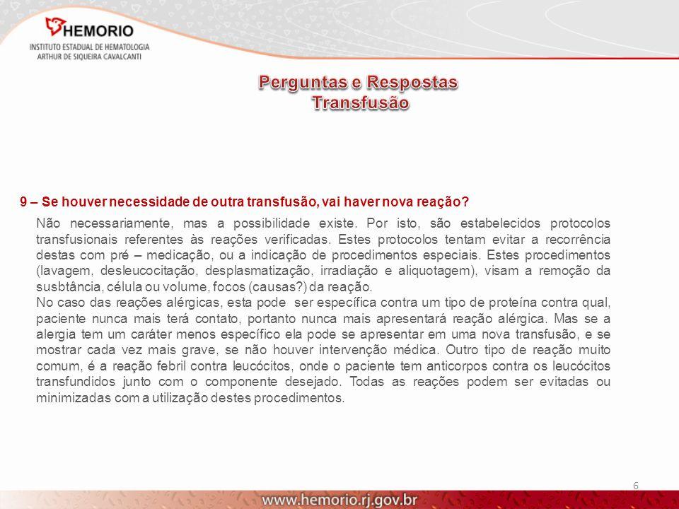 Perguntas e Respostas Transfusão