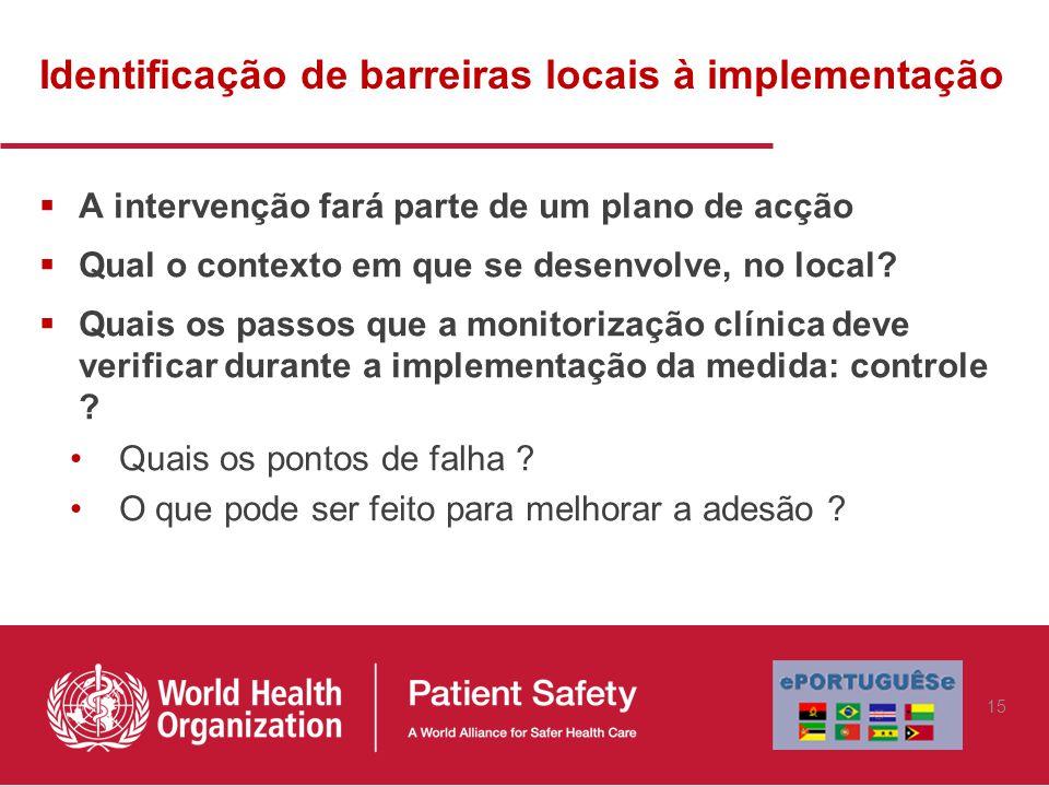 Identificação de barreiras locais à implementação