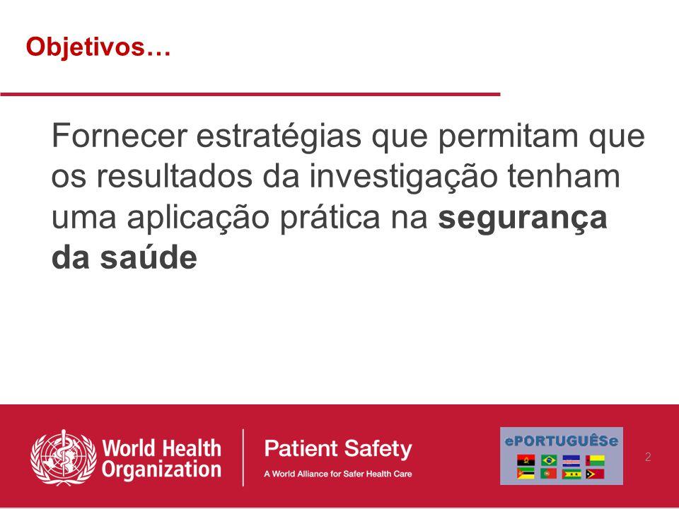 Objetivos… Fornecer estratégias que permitam que os resultados da investigação tenham uma aplicação prática na segurança da saúde.