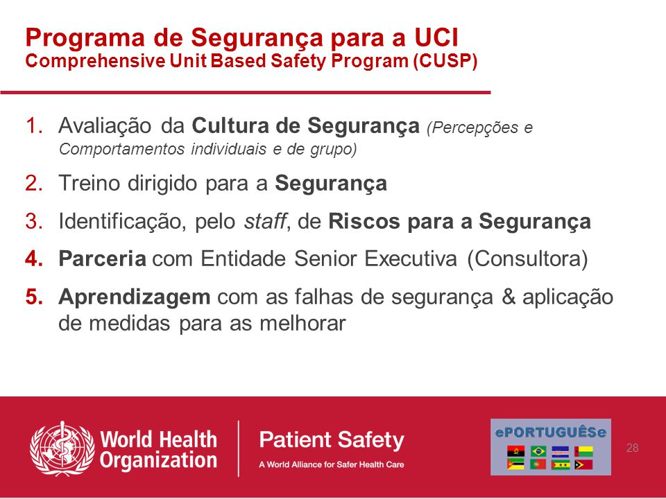Programa de Segurança para a UCI Comprehensive Unit Based Safety Program (CUSP)