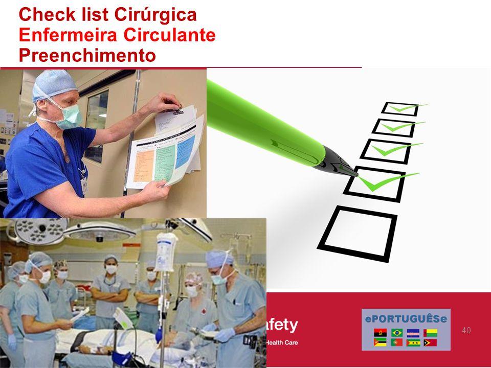 Check list Cirúrgica Enfermeira Circulante Preenchimento