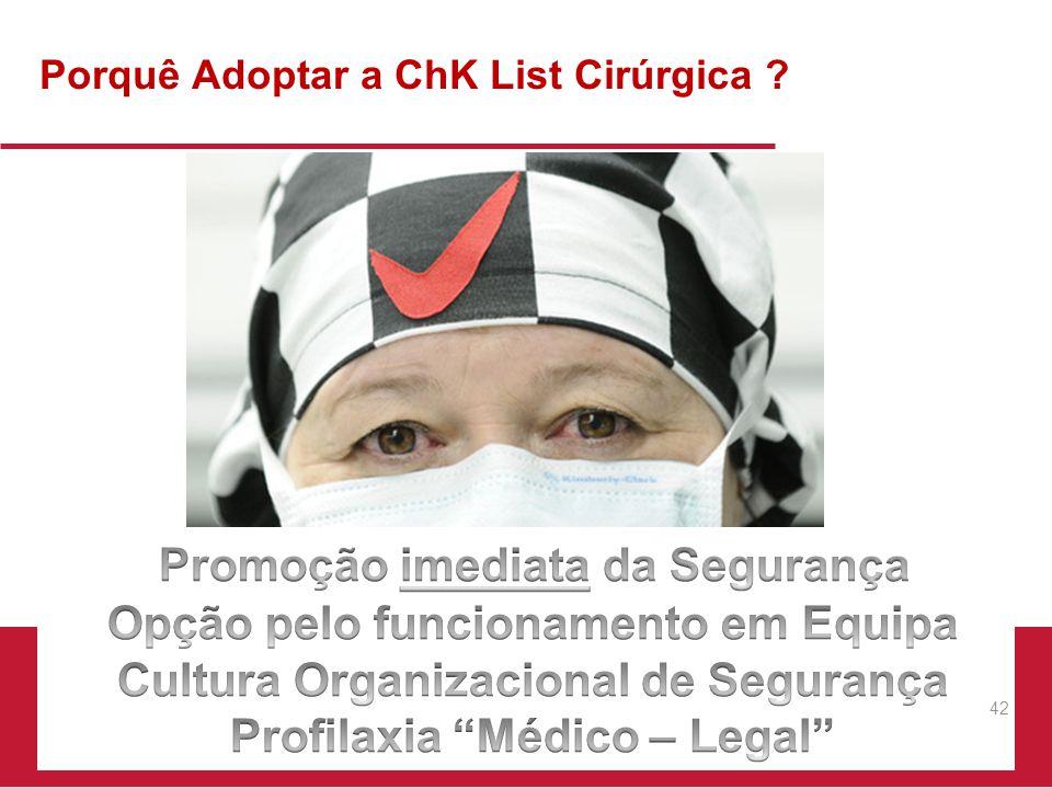 Porquê Adoptar a ChK List Cirúrgica