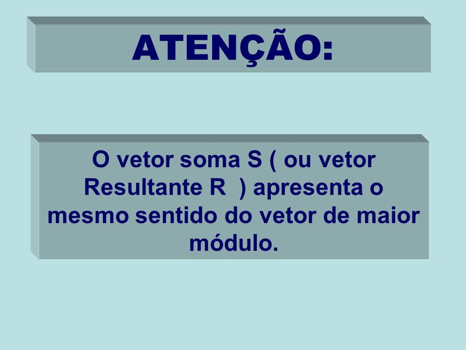 ATENÇÃO: O vetor soma S ( ou vetor Resultante R ) apresenta o mesmo sentido do vetor de maior módulo.