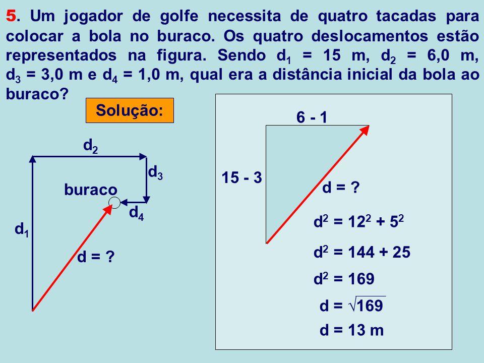 5. Um jogador de golfe necessita de quatro tacadas para colocar a bola no buraco. Os quatro deslocamentos estão representados na figura. Sendo d1 = 15 m, d2 = 6,0 m, d3 = 3,0 m e d4 = 1,0 m, qual era a distância inicial da bola ao buraco