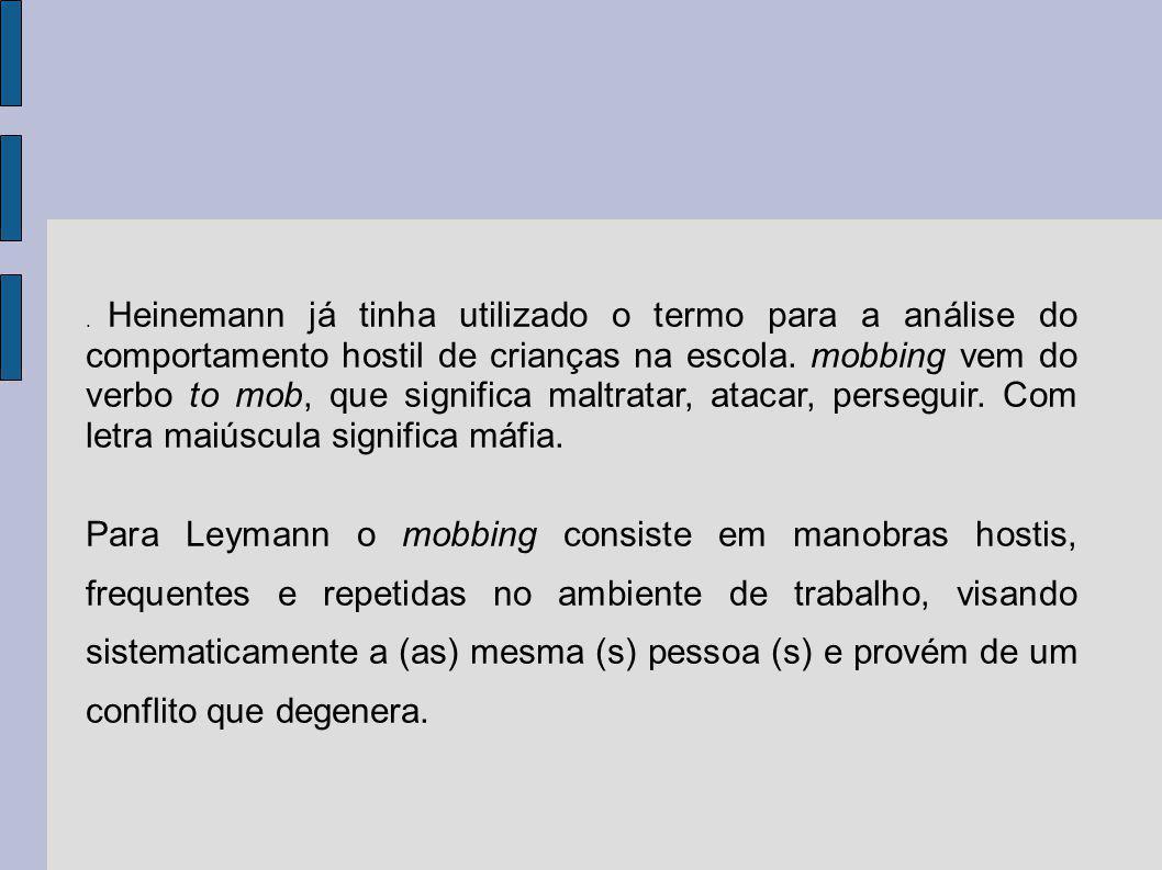 . Heinemann já tinha utilizado o termo para a análise do comportamento hostil de crianças na escola. mobbing vem do verbo to mob, que significa maltratar, atacar, perseguir. Com letra maiúscula significa máfia.
