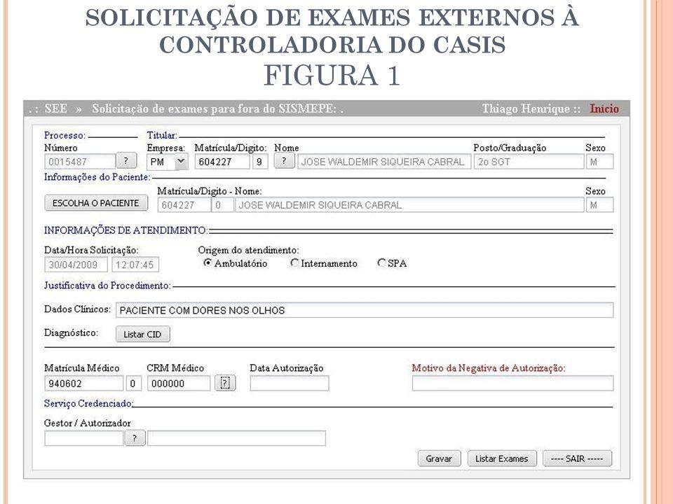 SOLICITAÇÃO DE EXAMES EXTERNOS À CONTROLADORIA DO CASIS