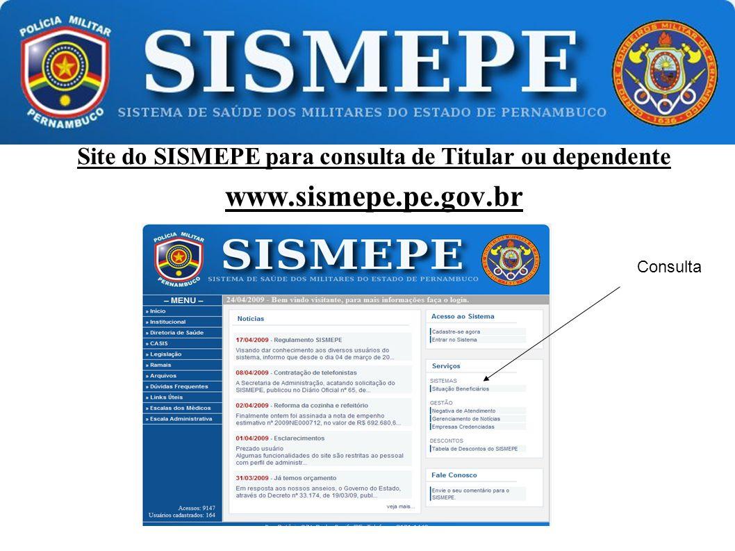 Site do SISMEPE para consulta de Titular ou dependente