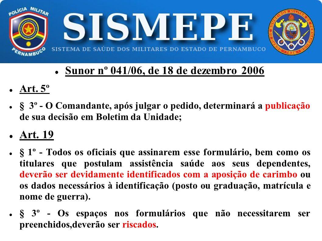 Sunor nº 041/06, de 18 de dezembro 2006
