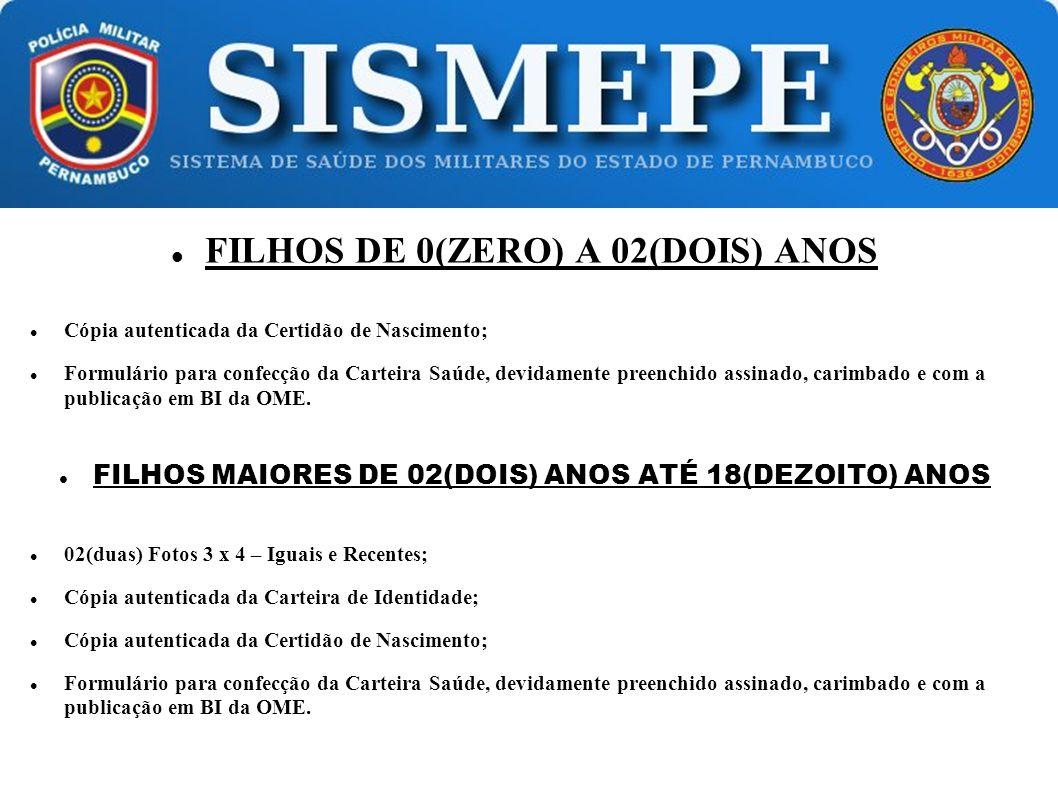 FILHOS DE 0(ZERO) A 02(DOIS) ANOS