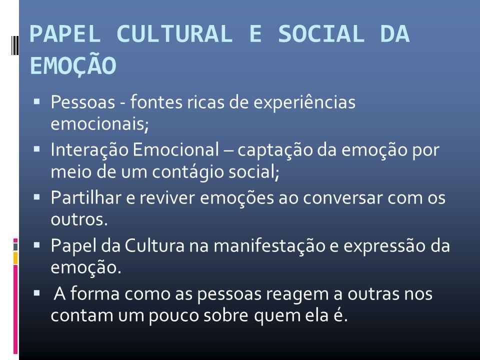 PAPEL CULTURAL E SOCIAL DA EMOÇÃO