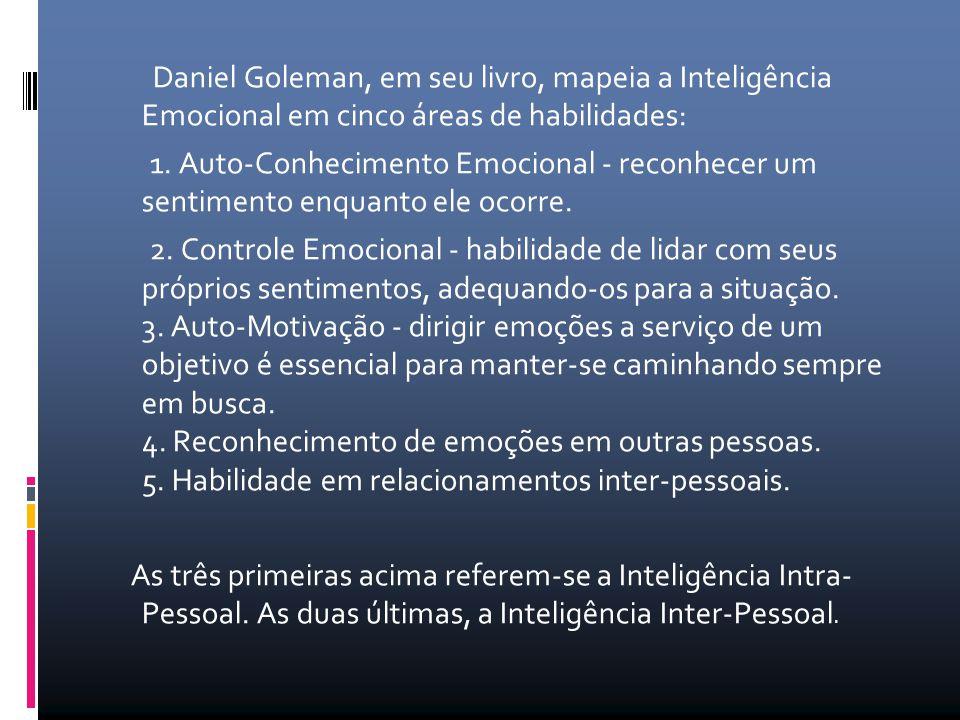 Daniel Goleman, em seu livro, mapeia a Inteligência Emocional em cinco áreas de habilidades: 1.