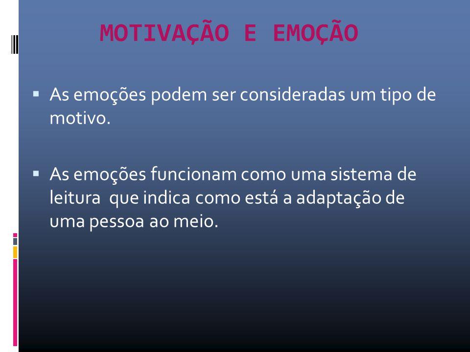 MOTIVAÇÃO E EMOÇÃO As emoções podem ser consideradas um tipo de motivo.