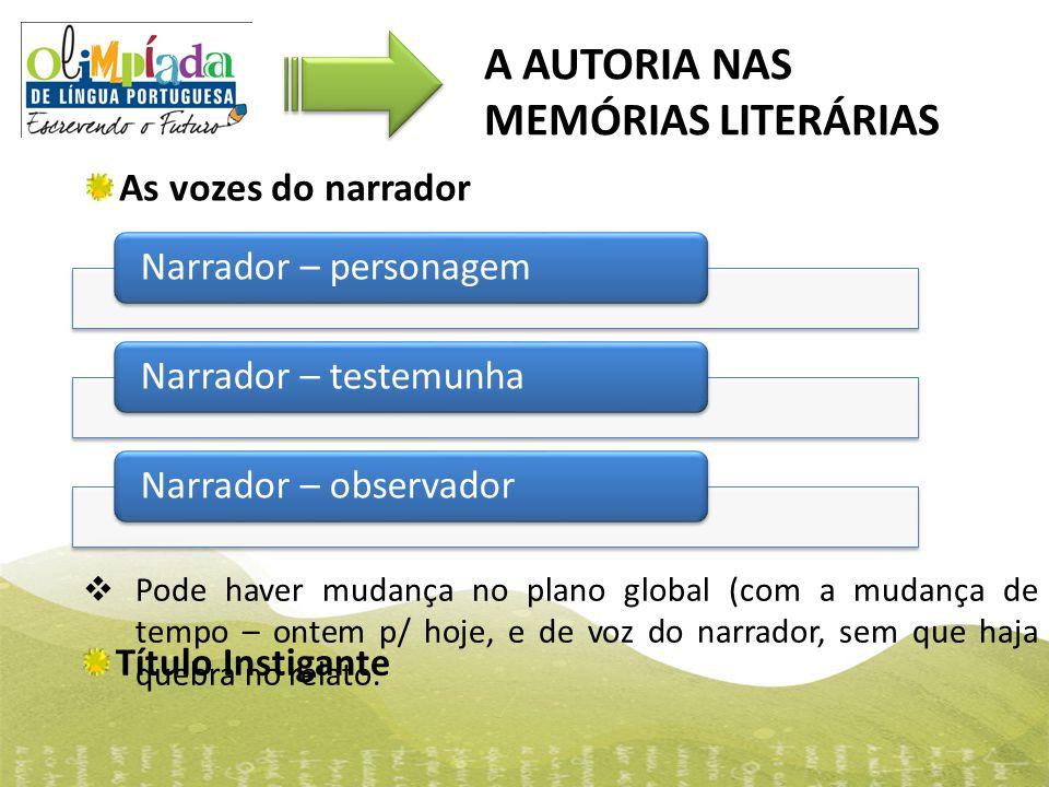 A AUTORIA NAS MEMÓRIAS LITERÁRIAS