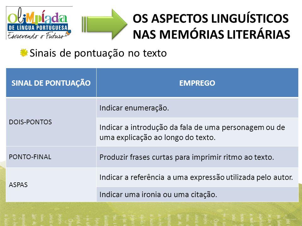 OS ASPECTOS LINGUÍSTICOS NAS MEMÓRIAS LITERÁRIAS