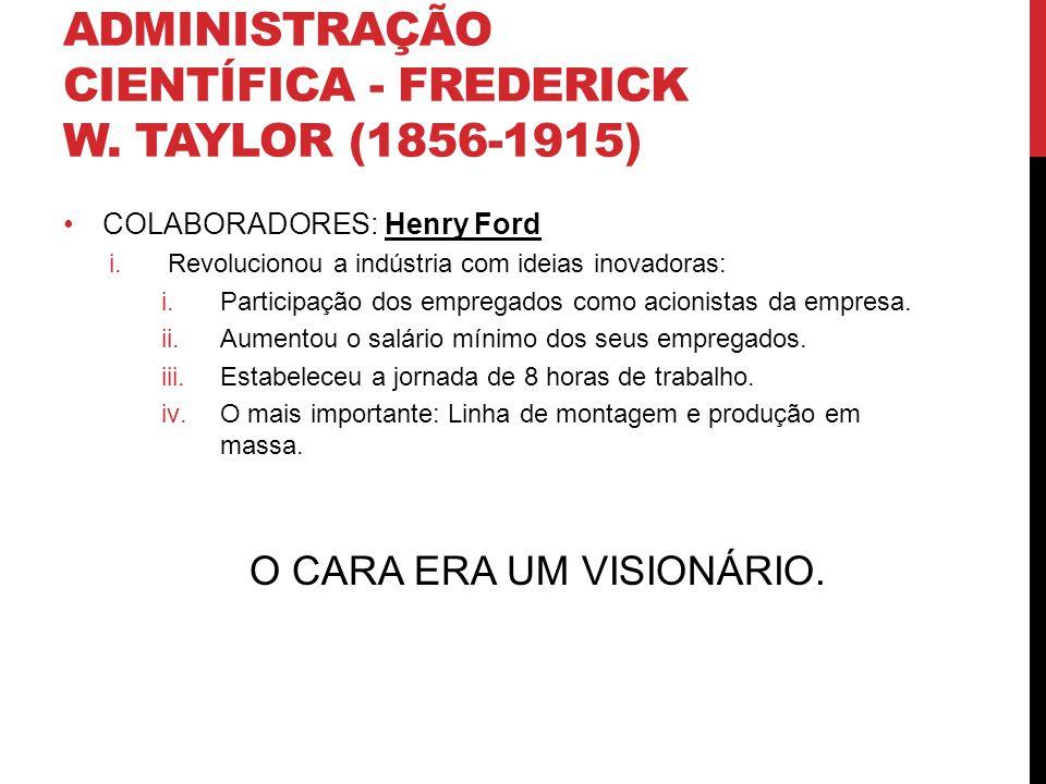 Administração Científica - Frederick W. Taylor (1856-1915)
