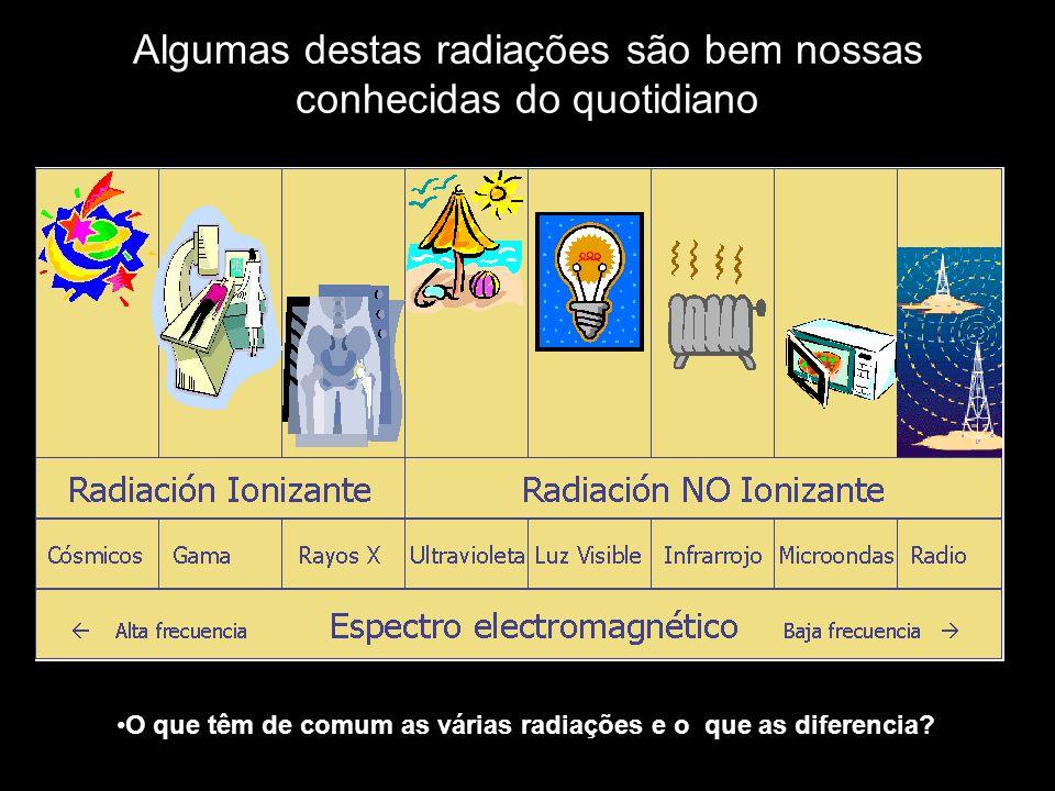 Algumas destas radiações são bem nossas conhecidas do quotidiano