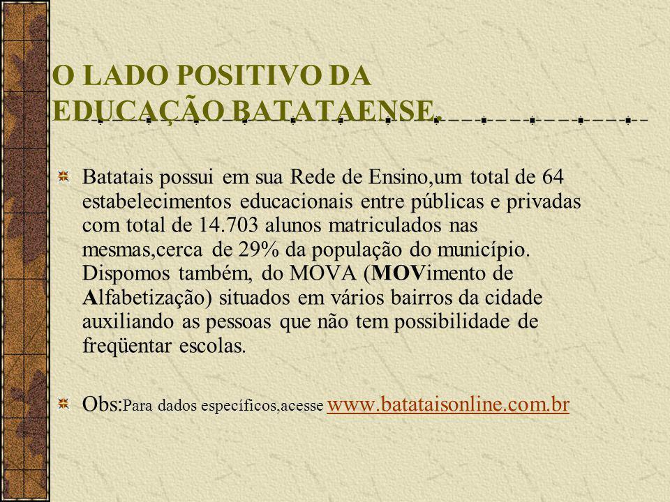 O LADO POSITIVO DA EDUCAÇÃO BATATAENSE.