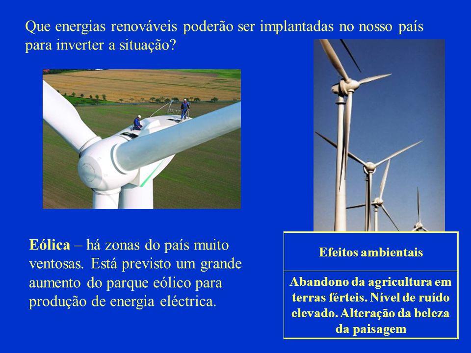 Que energias renováveis poderão ser implantadas no nosso país para inverter a situação