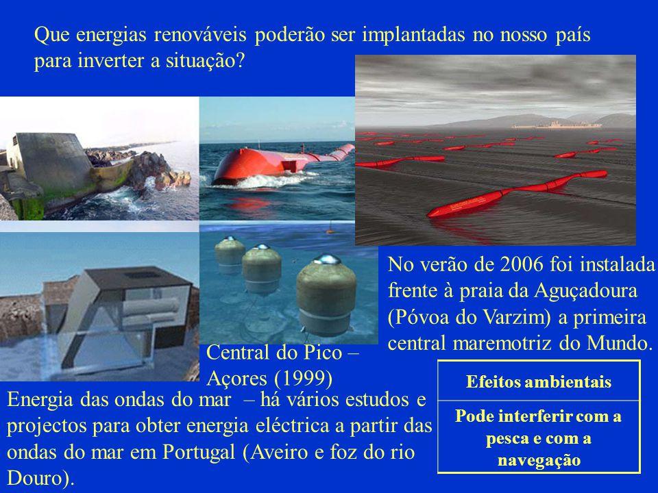 Pode interferir com a pesca e com a navegação