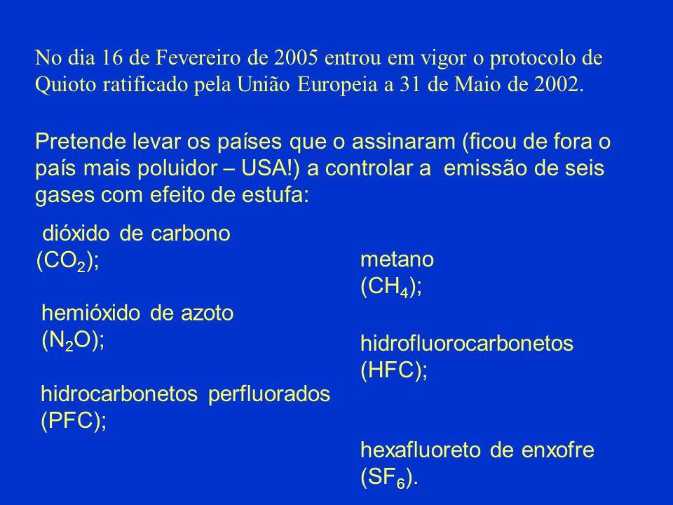 No dia 16 de Fevereiro de 2005 entrou em vigor o protocolo de Quioto ratificado pela União Europeia a 31 de Maio de 2002.
