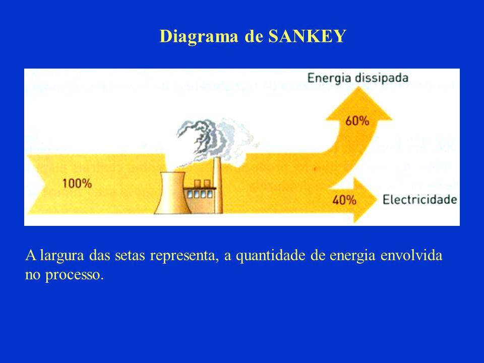 Diagrama de SANKEY A largura das setas representa, a quantidade de energia envolvida no processo.