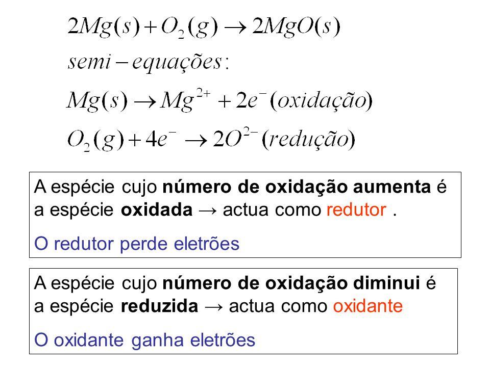 A espécie cujo número de oxidação aumenta é a espécie oxidada → actua como redutor .